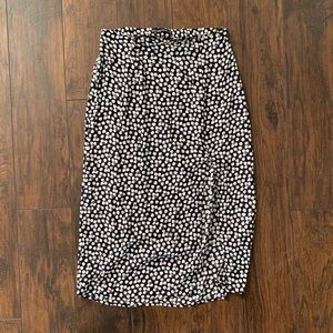 Abercrombie Black/White Slit Midi Skirt - Medium